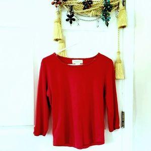 Susan Bristol knit exposed stitch 3/4 sleeve